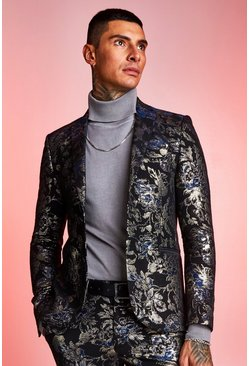 Navy Metallic Jacquard Skinny Fit Suit Jacket