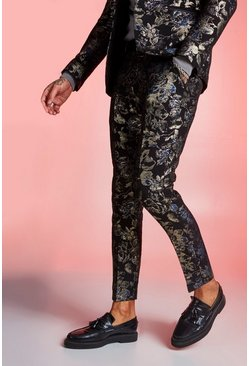 Navy Metallic Jacquard Skinny Fit Suit Trouser
