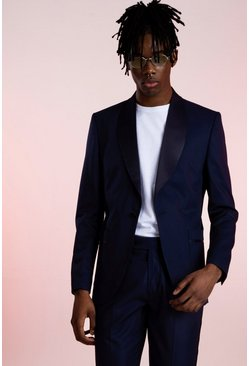 Navy Shawl Satin Collar Belted Suit Jacket