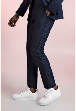 Mens Navy Skinny Fit Suit Trouser With Satin Piping