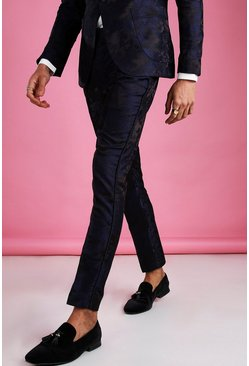 Black Skinny Fit Suit Trouser With Satin Piping