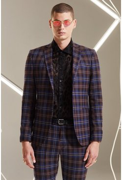 Plum Tartan Skinny Fit Suit Jacket