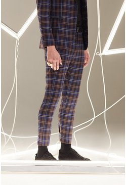 Plum Tartan Skinny Fit Cropped Suit Trouser