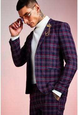 Red Tartan Skinny Fit Suit Jacket