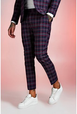 Red Tartan Skinny Fit Cropped Suit Trouser