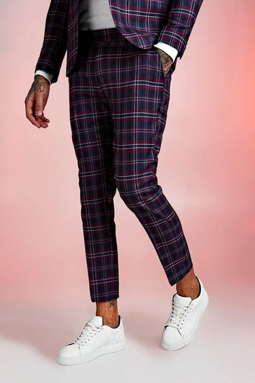 Mens Red Tartan Skinny Fit Cropped Suit Trouser
