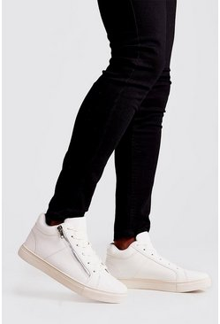 Mens White Zip Detail Hi Top