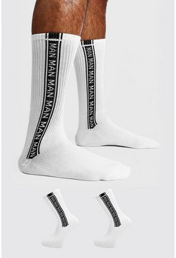 Mens White 2 Pack MAN Repeat Sock