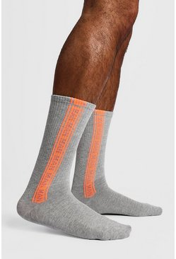 Mens Grey 2 Pack MAN Repeat Sock