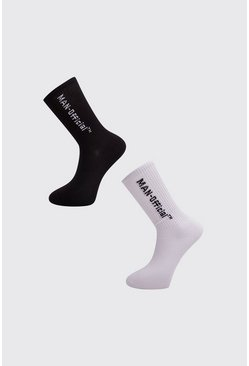 Lot de 2 paires de chaussettes MAN Officiel, Blanc