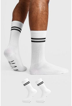 Mens White 2 Pack MAN Dash Sports Stripe Sock