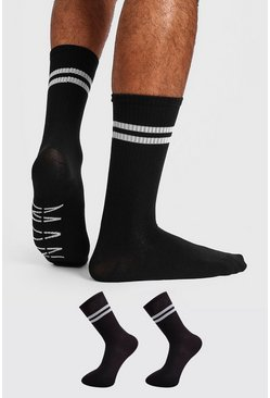 Mens Black 2 Pack MAN Dash Sports Stripe Sock
