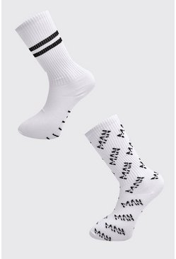Herr White 2 Pack MAN Dash Repeat Sock
