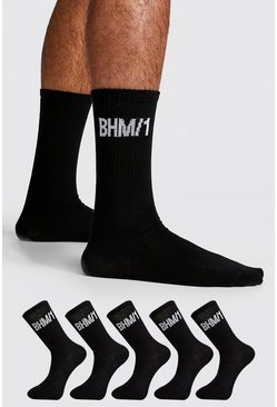 Mens Black 5 Pack BHM Socks