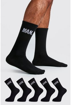 Mens Black 5 Pack MAN Socks