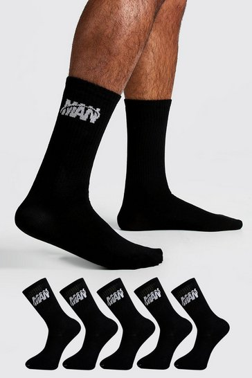 Mens Black 5 Pack MAN Orbit Sock