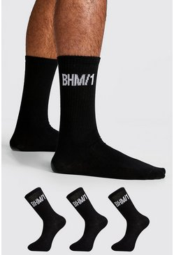 Mens Black 3 Pack BHM Sock
