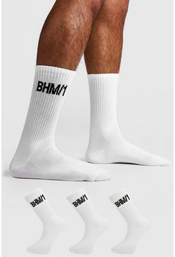 White 3 Pack BHM Sock
