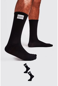 Black 2 Pack Woven Label Socks