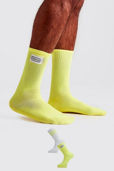Neon-yellow 2 Pack Woven Label Socks
