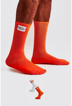 Orange 2 Pack Woven Label Socks