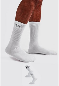 White 2 Pack Woven Label Socks