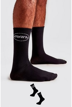 Black 2 Pack MAN Circle Logo Socks