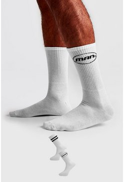 White 2 Pack MAN Circle Logo Socks