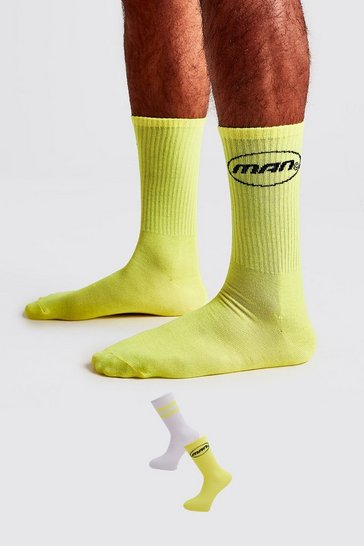 Neon-yellow 2 Pack MAN Circle Logo Socks