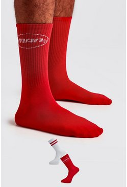 Red 2 Pack MAN Circle Logo Socks