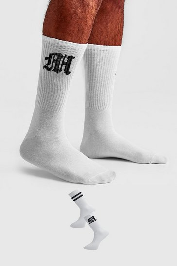 White 2 Pack Gothic M Socks