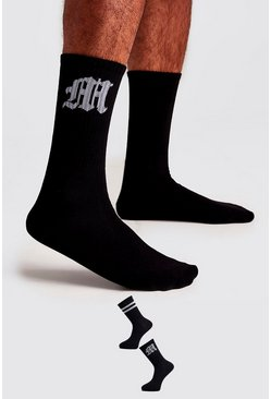 Black 2 Pack Gothic M Socks