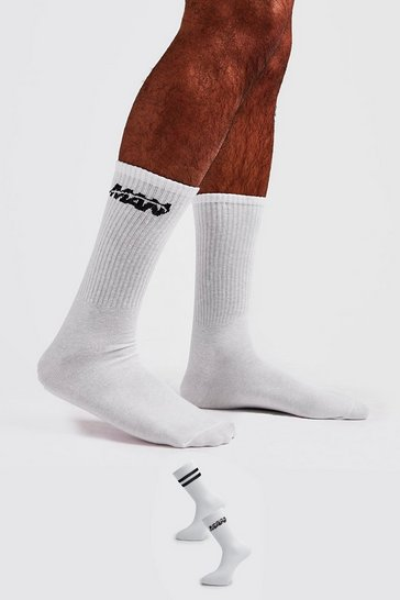 White 2 Pack MAN Orbit Socks