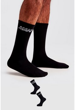 Black 2 Pack MAN Orbit Socks