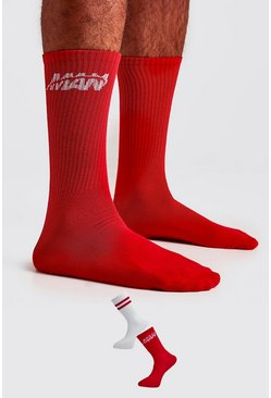 Lot de 2 paires de chaussettes orbite MAN, Rouge