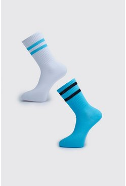 Blue 2 Pack MAN Dash Stripe Socks