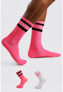 Neon-pink 2 Pack MAN Dash Stripe Socks