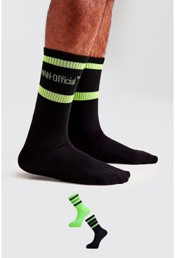 Pack de 2 pares de calcetines fosforitos MAN Official, Verde