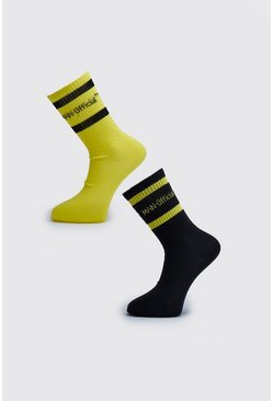 Pack de 2 pares de calcetines a rayas fosforitas MAN Official, Amarillo