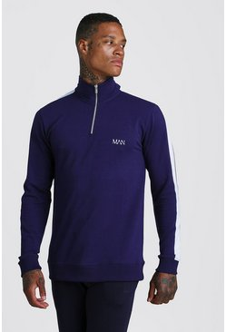 Navy Muscle Fit Original MAN 1/4 Zip Funnel Neck Top