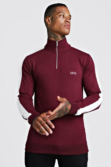 Mens Burgundy Muscle Fit Original MAN 1/4 Zip Funnel Neck Top
