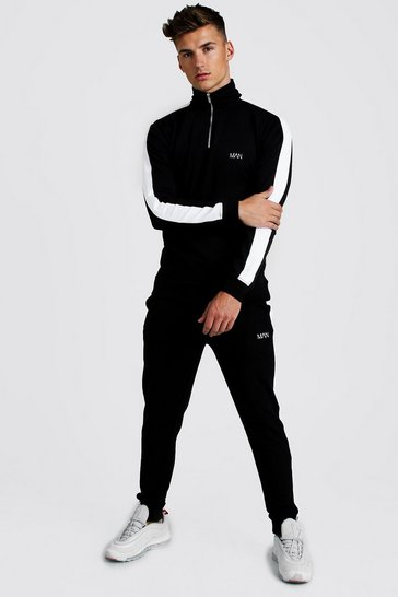 Mens Black Skinny Fit 1/4 Zip Funnel Top Tracksuit