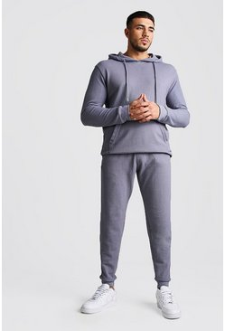 Dark blue Pique Hooded Skinny Fit Tracksuit