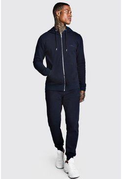 Mens Navy Pique Zip Through Skinny Tracksuit