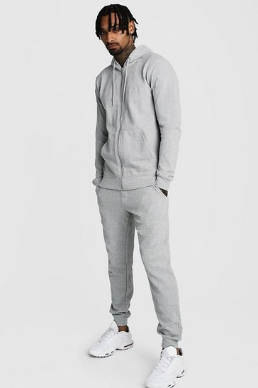 Grey Pique Zip Through Skinny Tracksuit