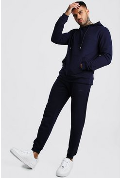 Navy Pique Hooded Skinny Tracksuit