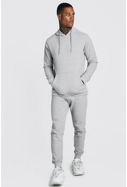 Grey Pique Hooded Skinny Tracksuit