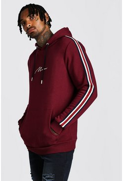 Mens Burgundy MAN Signature Hoodie With Tape Detail