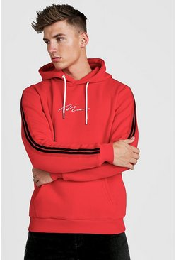 Mens Red MAN Signature Hoodie With Tape Detail