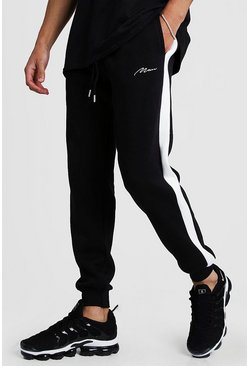 Mens Black MAN Signature Skinny Side Panel Jogger